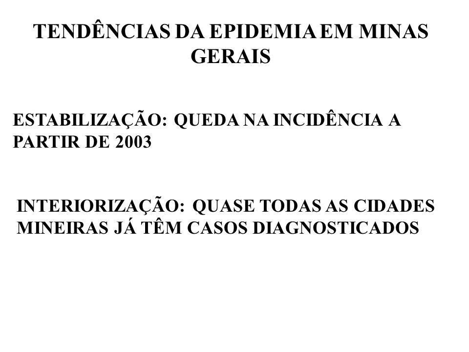 TENDÊNCIAS DA EPIDEMIA EM MINAS GERAIS ESTABILIZAÇÃO: QUEDA NA INCIDÊNCIA A PARTIR DE 2003 INTERIORIZAÇÃO: QUASE TODAS AS CIDADES MINEIRAS JÁ TÊM CASO