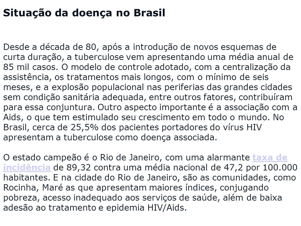 Situação da doença no Brasil Desde a década de 80, após a introdução de novos esquemas de curta duração, a tuberculose vem apresentando uma média anua