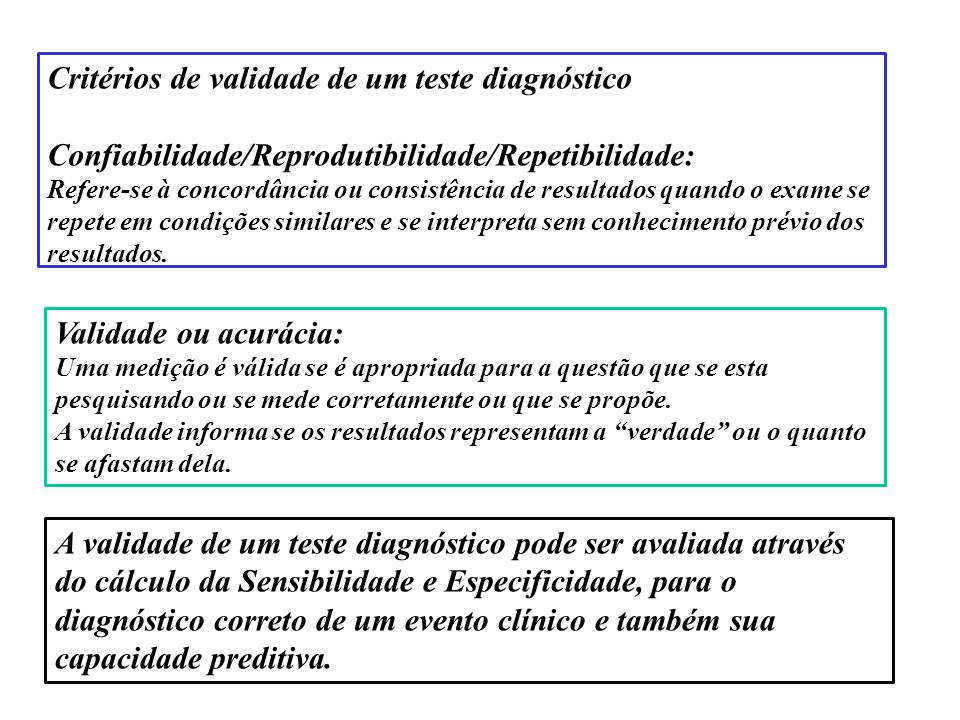 Critérios de validade de um teste diagnóstico Confiabilidade/Reprodutibilidade/Repetibilidade: Refere-se à concordância ou consistência de resultados quando o exame se repete em condições similares e se interpreta sem conhecimento prévio dos resultados.