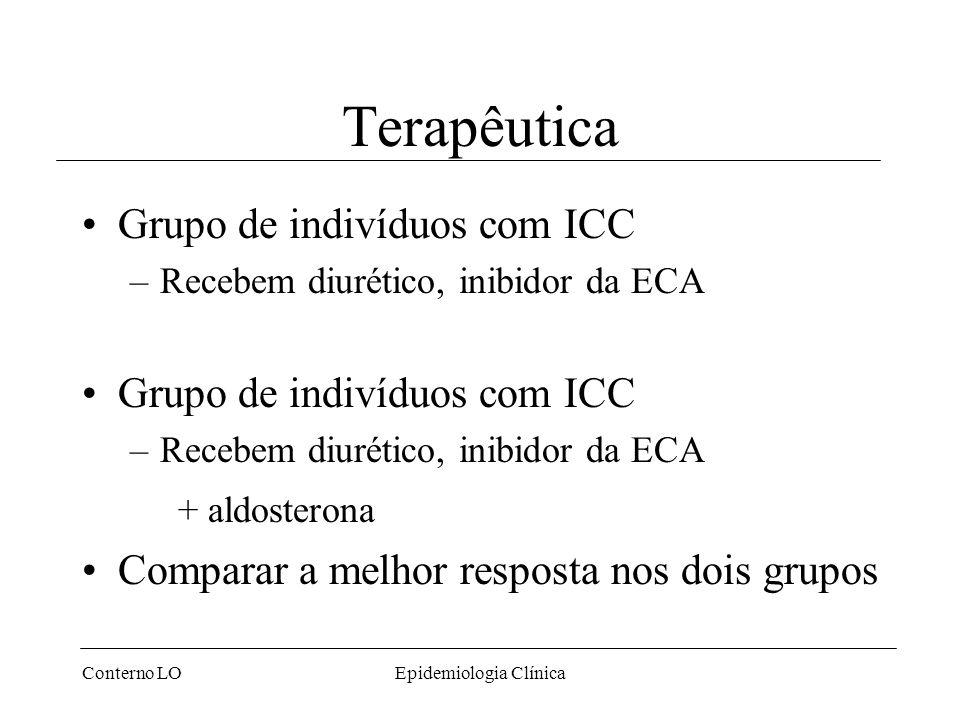 Conterno LOEpidemiologia Clínica Terapêutica Grupo de indivíduos com ICC –Recebem diurético, inibidor da ECA Grupo de indivíduos com ICC –Recebem diurético, inibidor da ECA + aldosterona Comparar a melhor resposta nos dois grupos