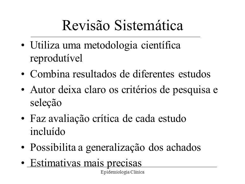 Epidemiologia Clínica Revisão Sistemática Utiliza uma metodologia científica reprodutível Combina resultados de diferentes estudos Autor deixa claro os critérios de pesquisa e seleção Faz avaliação crítica de cada estudo incluído Possibilita a generalização dos achados Estimativas mais precisas