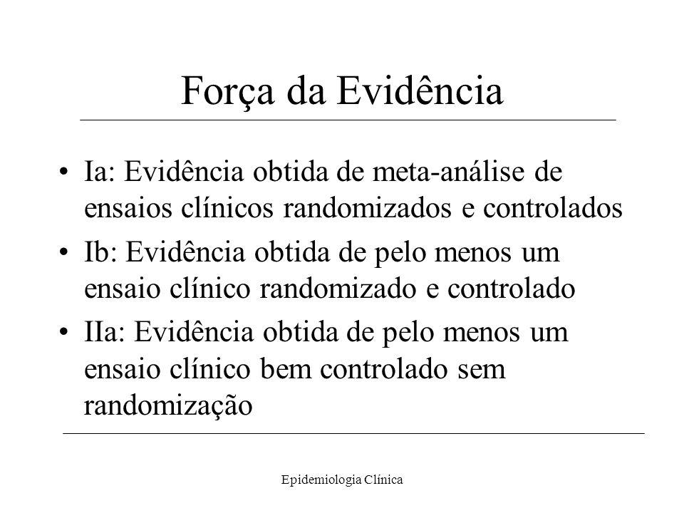 Epidemiologia Clínica Força da Evidência Ia: Evidência obtida de meta-análise de ensaios clínicos randomizados e controlados Ib: Evidência obtida de p