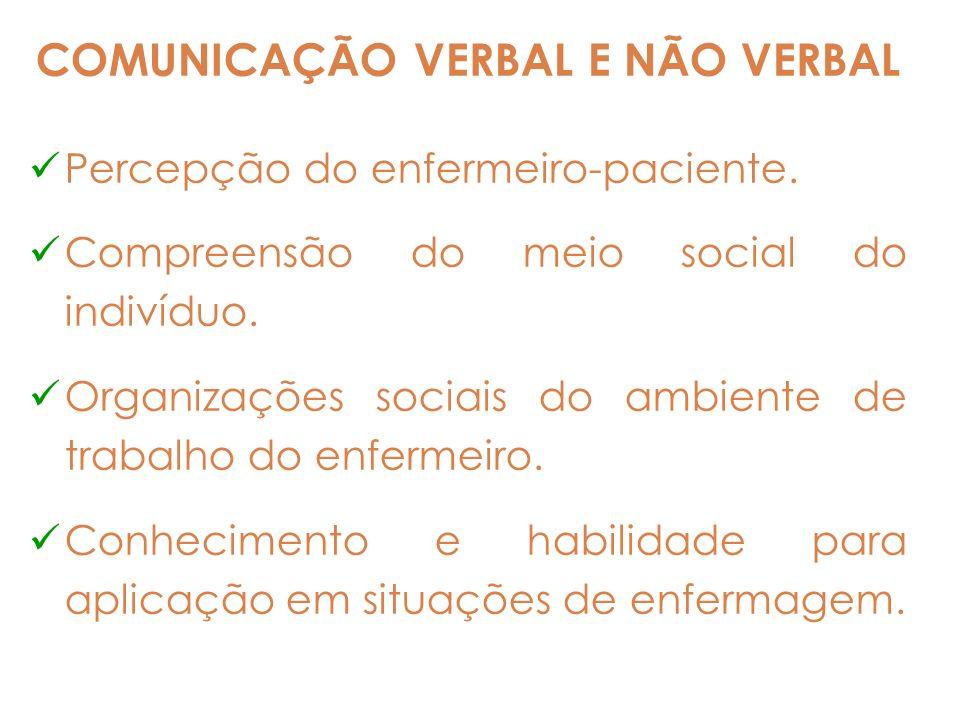 COMUNICAÇÃO VERBAL E NÃO VERBAL Percepção do enfermeiro-paciente. Compreensão do meio social do indivíduo. Organizações sociais do ambiente de trabalh