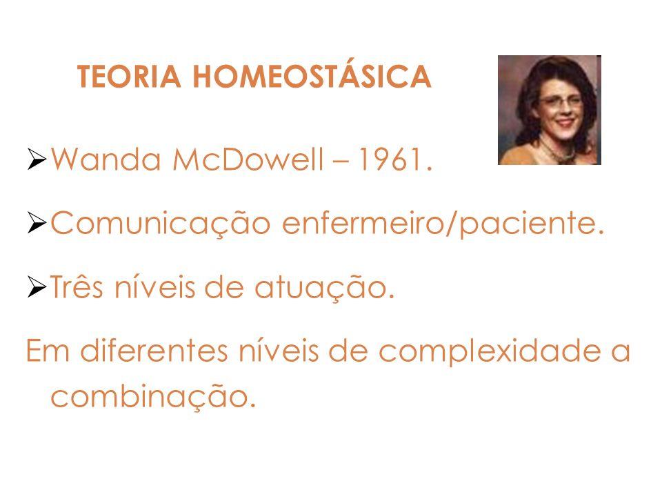 Wanda McDowell – 1961. Comunicação enfermeiro/paciente. Três níveis de atuação. Em diferentes níveis de complexidade a combinação. TEORIA HOMEOSTÁSICA