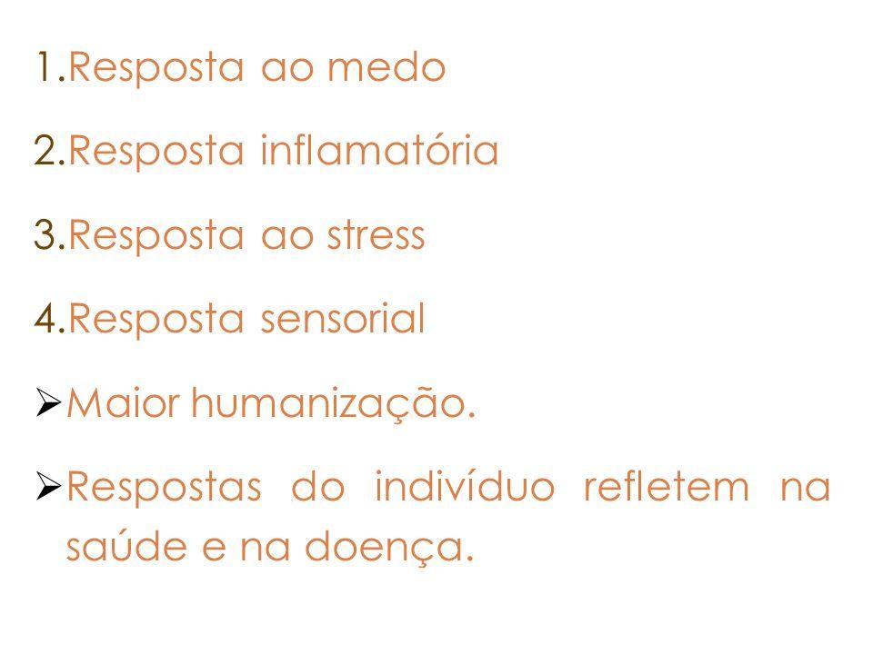1.Resposta ao medo 2.Resposta inflamatória 3.Resposta ao stress 4.Resposta sensorial Maior humanização. Respostas do indivíduo refletem na saúde e na