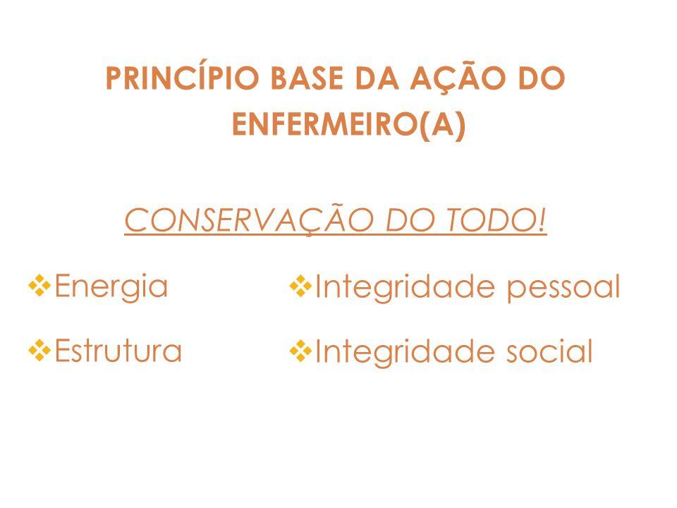 PRINCÍPIO BASE DA AÇÃO DO ENFERMEIRO(A) CONSERVAÇÃO DO TODO! Energia Estrutura Integridade pessoal Integridade social