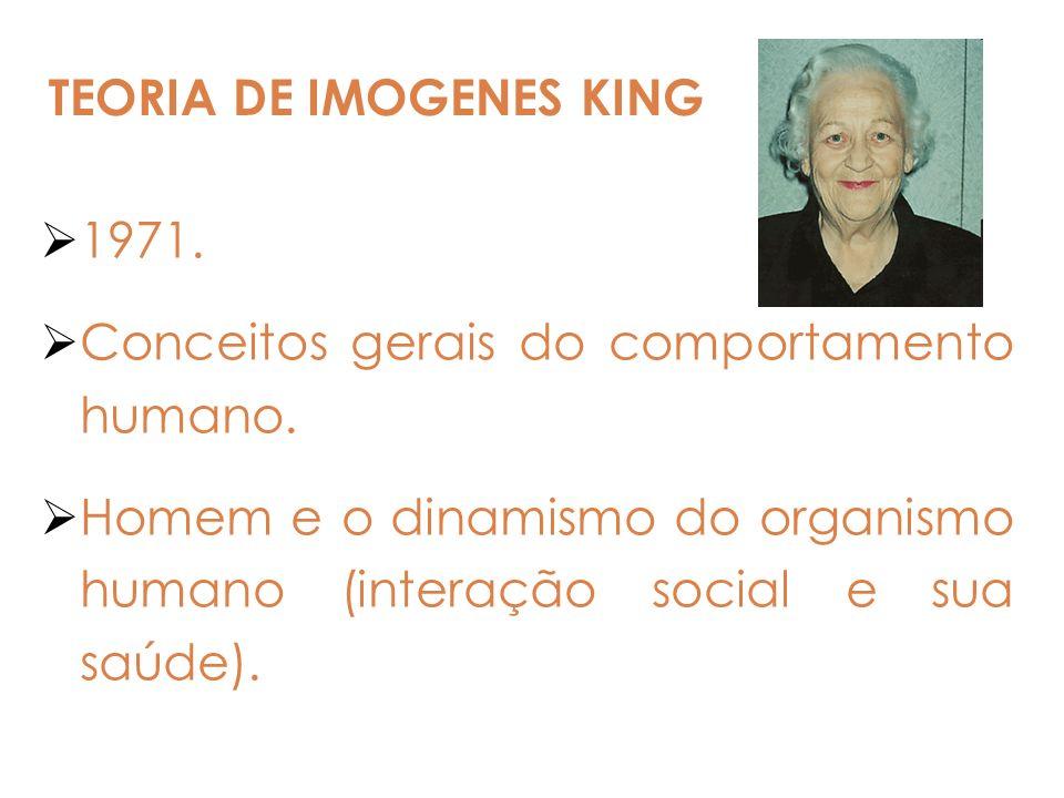 1971. Conceitos gerais do comportamento humano. Homem e o dinamismo do organismo humano (interação social e sua saúde). TEORIA DE IMOGENES KING