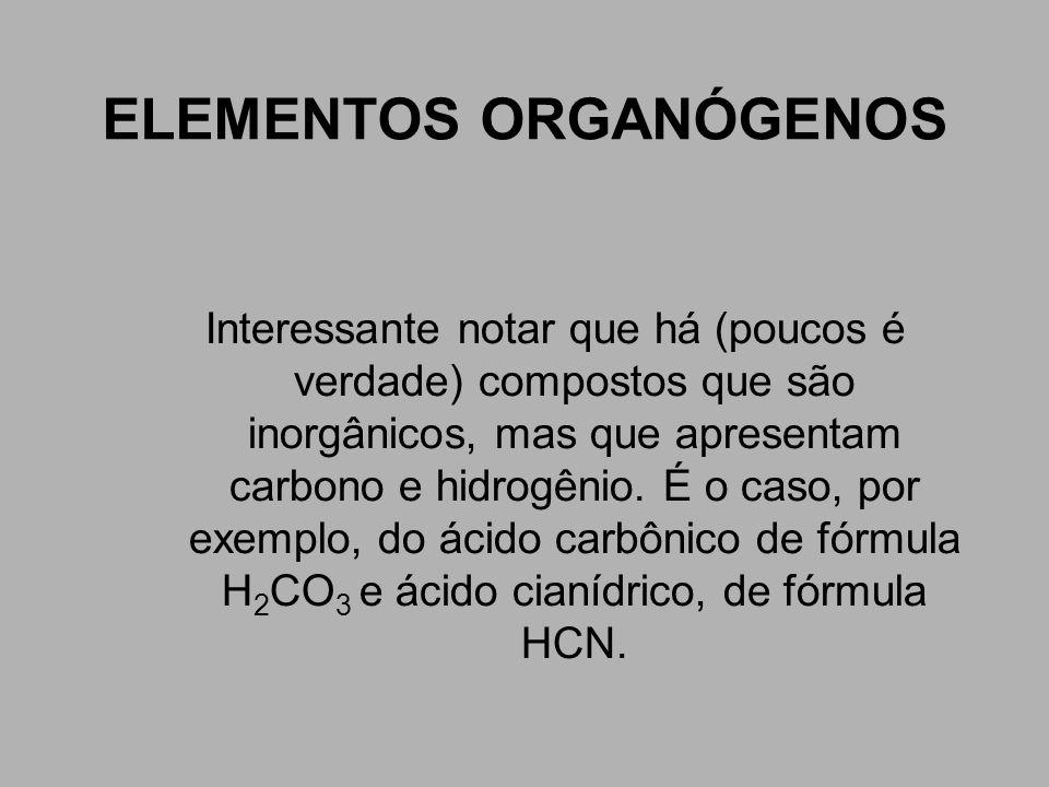 ELEMENTOS ORGANÓGENOS Interessante notar que há (poucos é verdade) compostos que são inorgânicos, mas que apresentam carbono e hidrogênio. É o caso, p