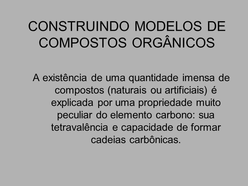 CONSTRUINDO MODELOS DE COMPOSTOS ORGÂNICOS A existência de uma quantidade imensa de compostos (naturais ou artificiais) é explicada por uma propriedad