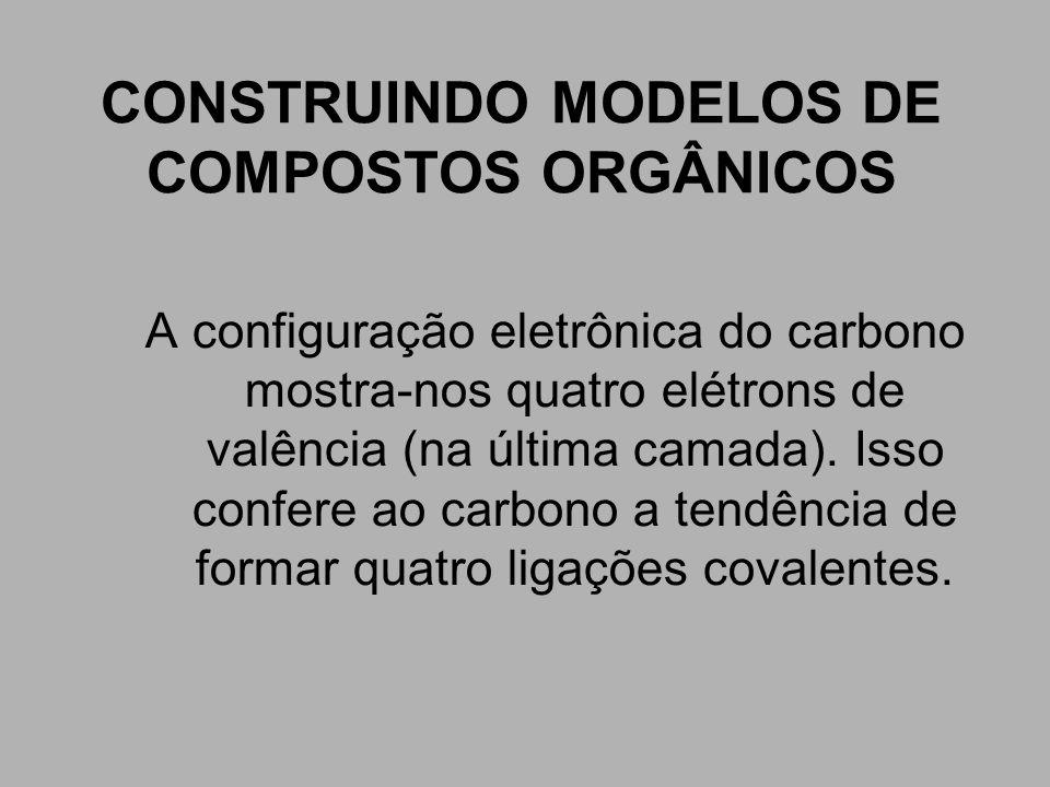 CONSTRUINDO MODELOS DE COMPOSTOS ORGÂNICOS A configuração eletrônica do carbono mostra-nos quatro elétrons de valência (na última camada). Isso confer
