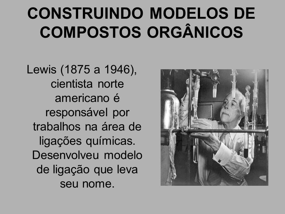 CONSTRUINDO MODELOS DE COMPOSTOS ORGÂNICOS Lewis (1875 a 1946), cientista norte americano é responsável por trabalhos na área de ligações químicas. De