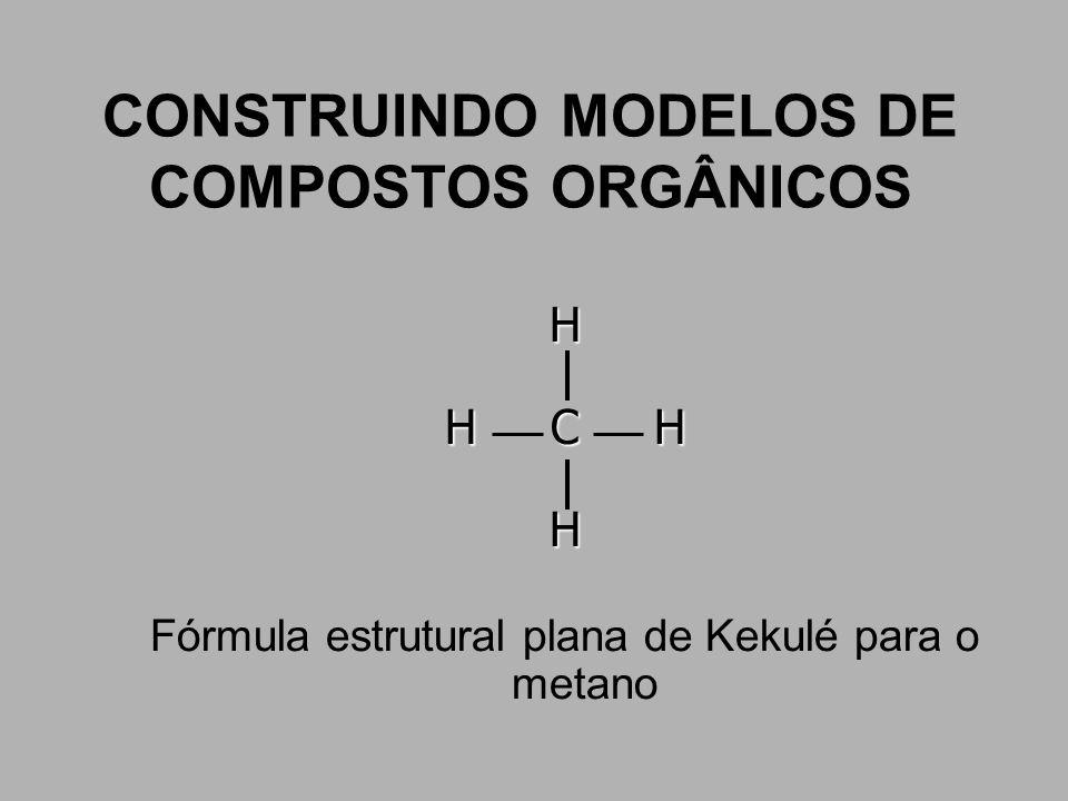 CONSTRUINDO MODELOS DE COMPOSTOS ORGÂNICOS H H C H H Fórmula estrutural plana de Kekulé para o metano