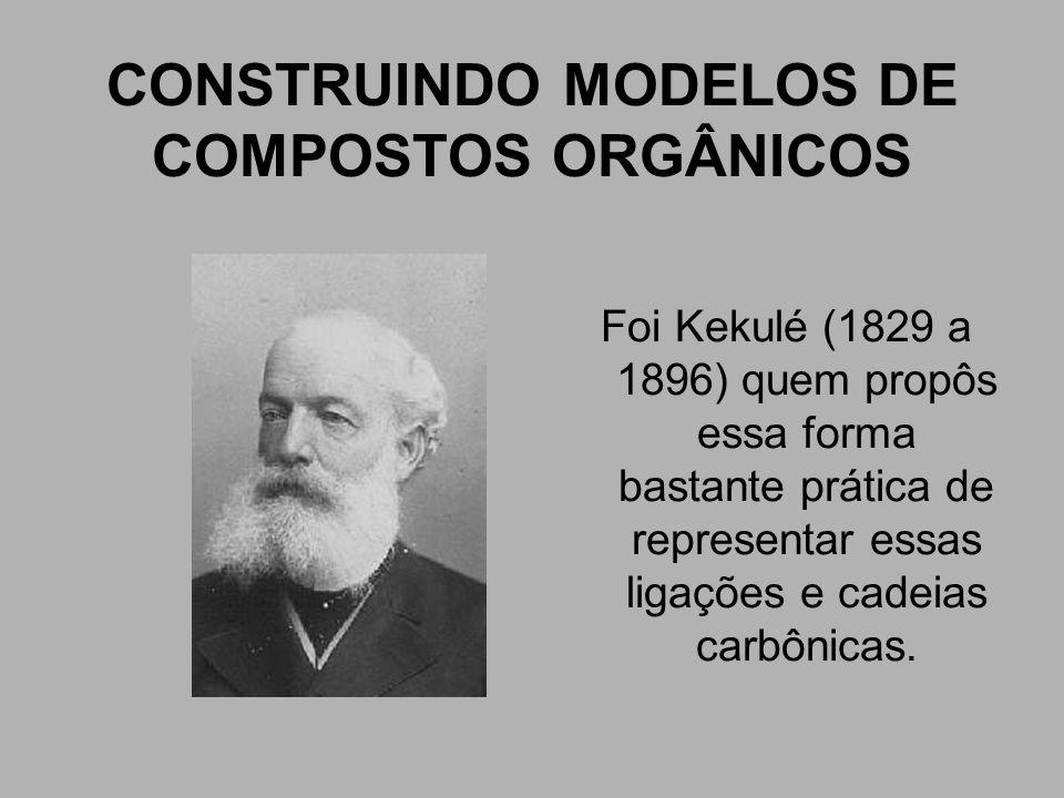 CONSTRUINDO MODELOS DE COMPOSTOS ORGÂNICOS Foi Kekulé (1829 a 1896) quem propôs essa forma bastante prática de representar essas ligações e cadeias ca