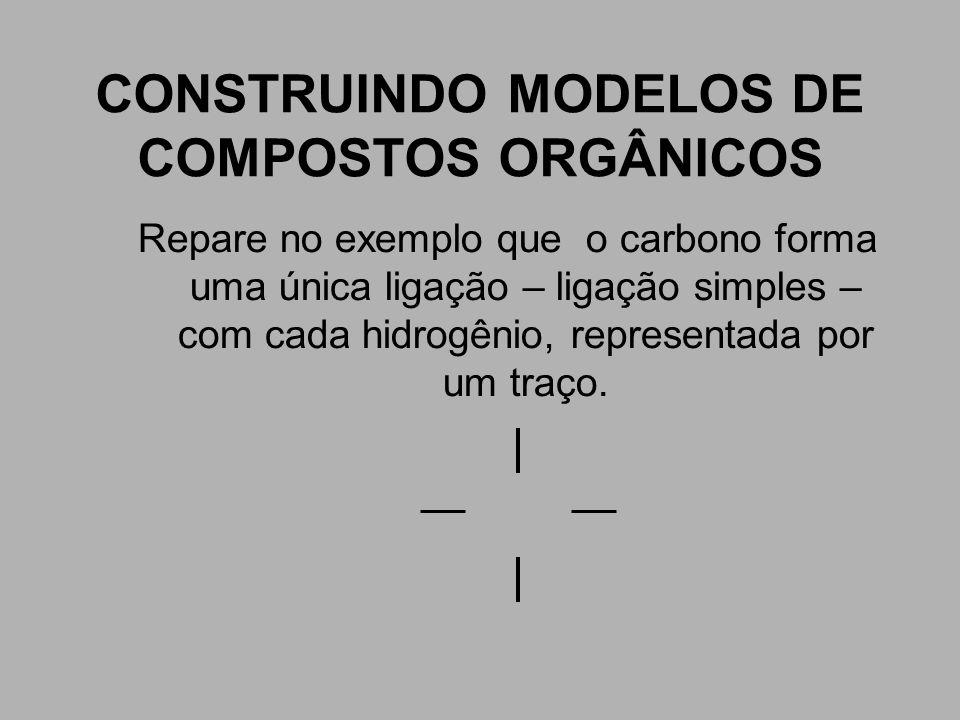 CONSTRUINDO MODELOS DE COMPOSTOS ORGÂNICOS Repare no exemplo que o carbono forma uma única ligação – ligação simples – com cada hidrogênio, representa