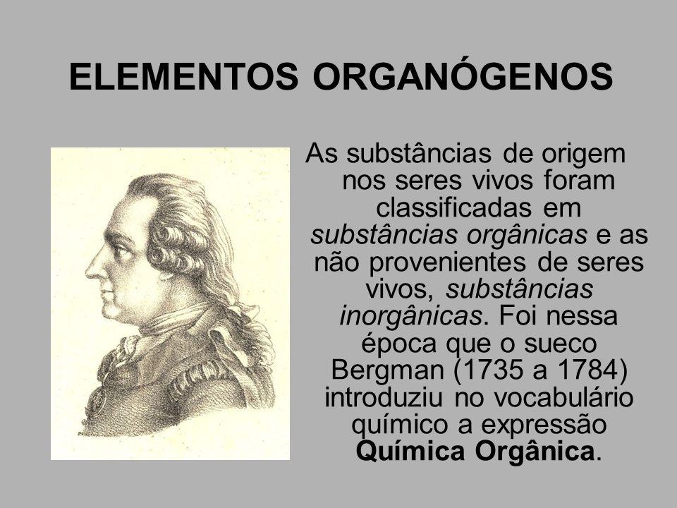 ELEMENTOS ORGANÓGENOS Outro químico, Berzelius (1778 a 1848), acreditava que a preparação de substâncias orgânicas só seria possível a partir de seres vivos, isto é, com interferência da célula viva.