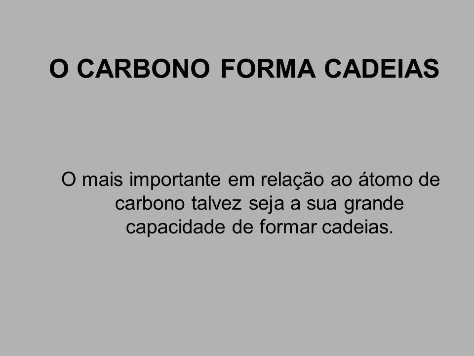 O CARBONO FORMA CADEIAS O mais importante em relação ao átomo de carbono talvez seja a sua grande capacidade de formar cadeias.