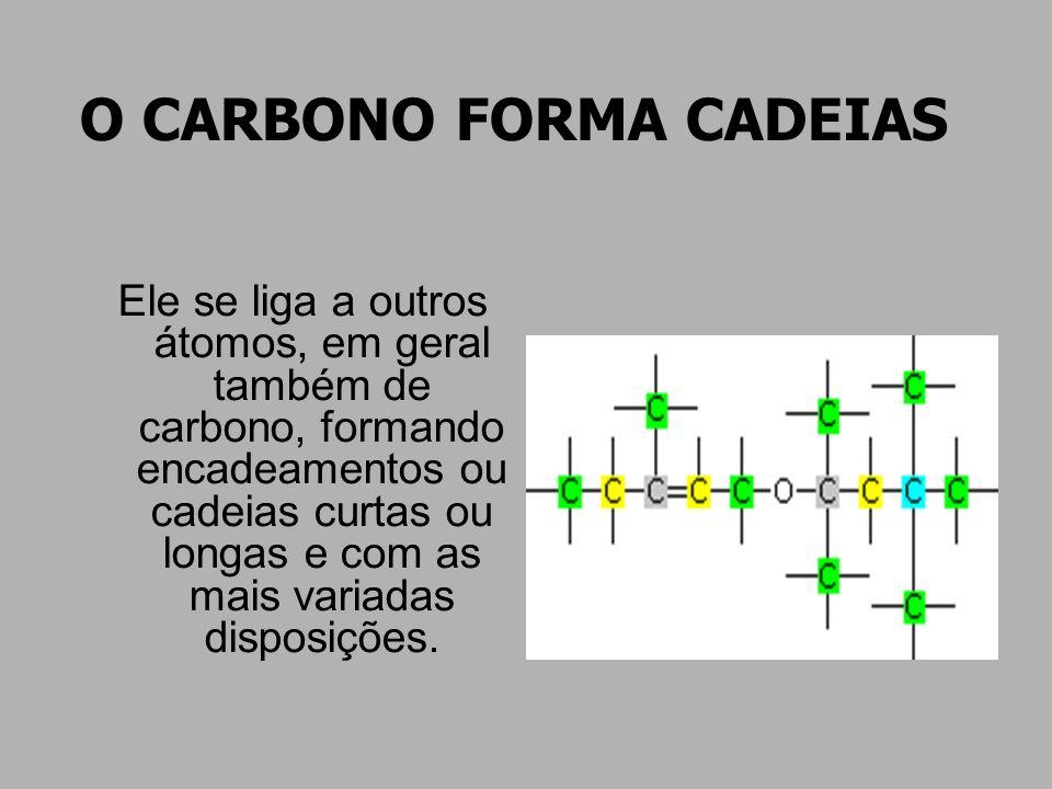 O CARBONO FORMA CADEIAS Ele se liga a outros átomos, em geral também de carbono, formando encadeamentos ou cadeias curtas ou longas e com as mais vari