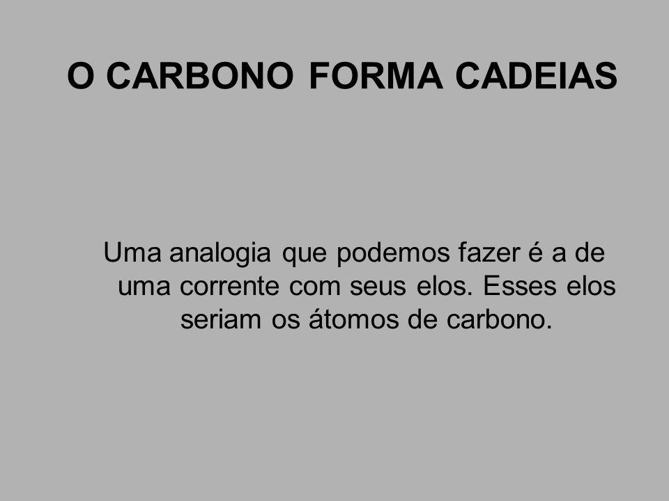 O CARBONO FORMA CADEIAS Uma analogia que podemos fazer é a de uma corrente com seus elos. Esses elos seriam os átomos de carbono.