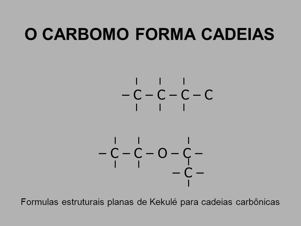 O CARBOMO FORMA CADEIAS – C – C – C – C – C – C – O – C – – C – Formulas estruturais planas de Kekulé para cadeias carbônicas
