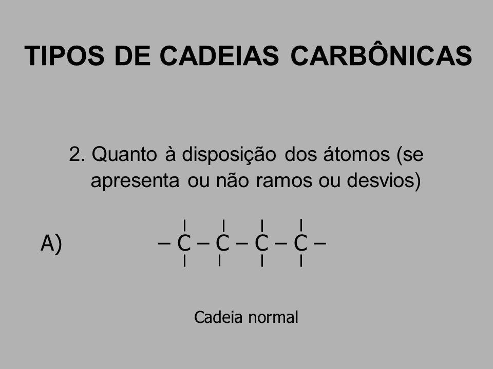 TIPOS DE CADEIAS CARBÔNICAS 2. Quanto à disposição dos átomos (se apresenta ou não ramos ou desvios) A) – C – C – C – C – Cadeia normal