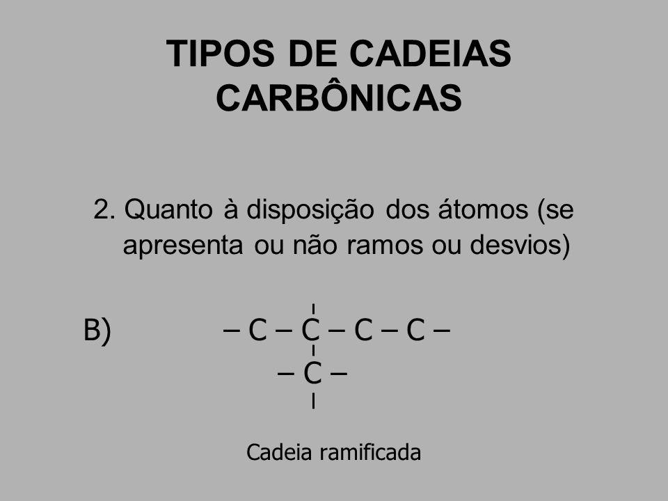 TIPOS DE CADEIAS CARBÔNICAS 2. Quanto à disposição dos átomos (se apresenta ou não ramos ou desvios) B) – C – C – C – C – – C – Cadeia ramificada