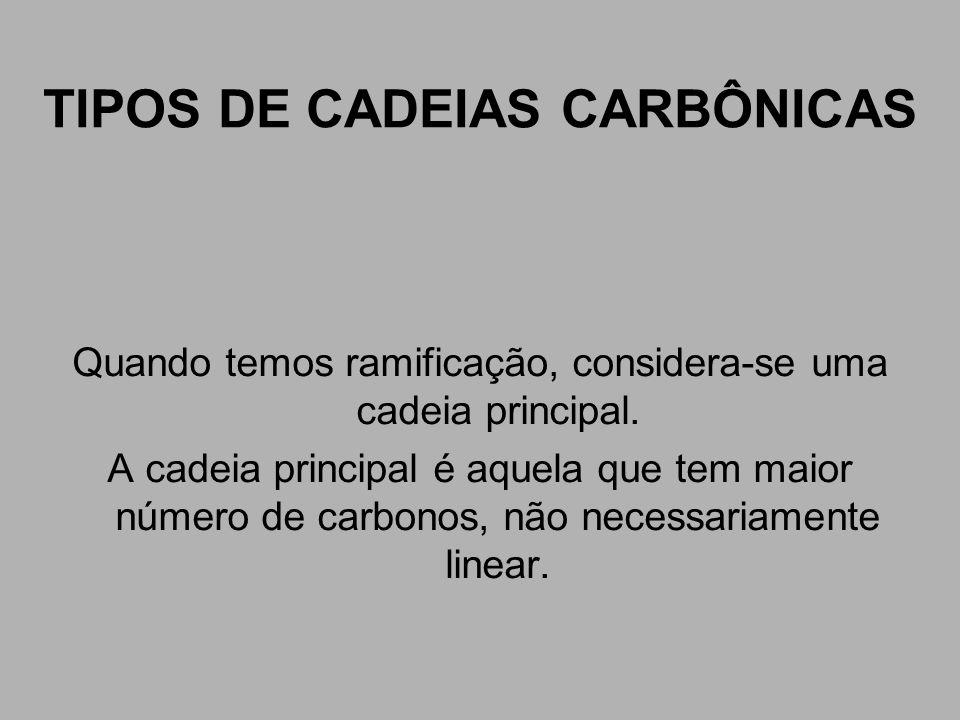TIPOS DE CADEIAS CARBÔNICAS Quando temos ramificação, considera-se uma cadeia principal. A cadeia principal é aquela que tem maior número de carbonos,