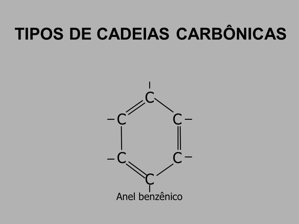 TIPOS DE CADEIAS CARBÔNICAS C Anel benzênico
