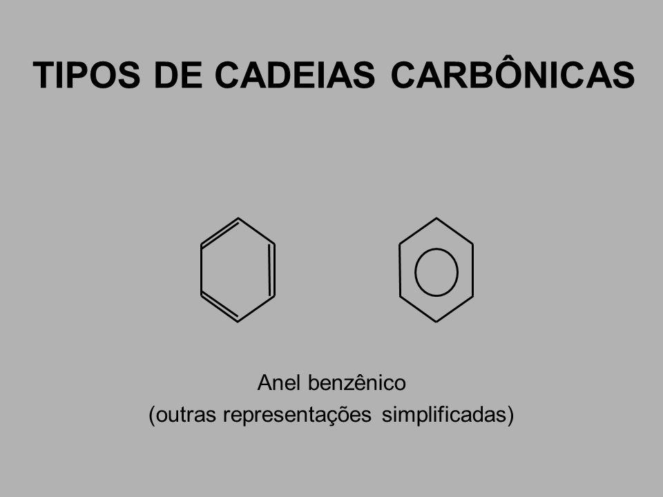 TIPOS DE CADEIAS CARBÔNICAS Anel benzênico (outras representações simplificadas)