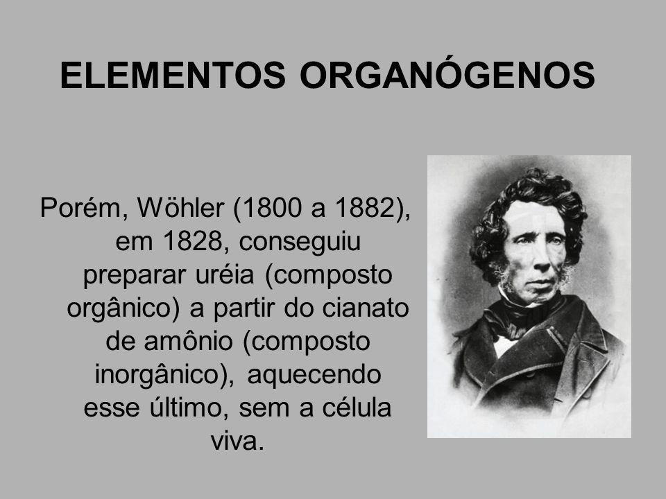 ELEMENTOS ORGANÓGENOS Porém, Wöhler (1800 a 1882), em 1828, conseguiu preparar uréia (composto orgânico) a partir do cianato de amônio (composto inorg