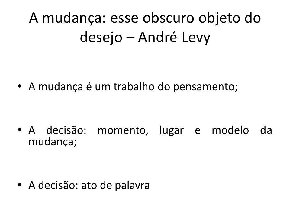 A mudança: esse obscuro objeto do desejo – André Levy A mudança é um trabalho do pensamento; A decisão: momento, lugar e modelo da mudança; A decisão: