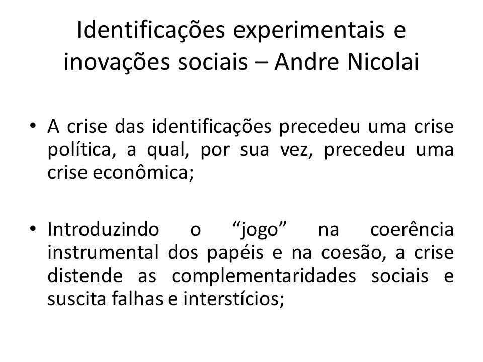 Identificações experimentais e inovações sociais – Andre Nicolai A crise das identificações precedeu uma crise política, a qual, por sua vez, precedeu