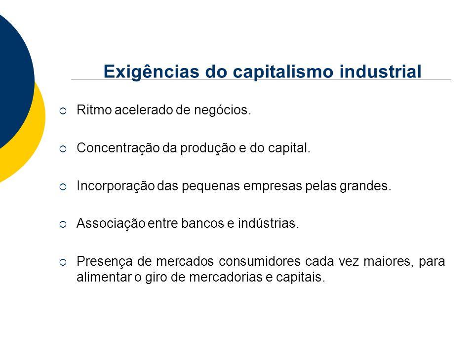 Exigências do capitalismo industrial Ritmo acelerado de negócios. Concentração da produção e do capital. Incorporação das pequenas empresas pelas gran