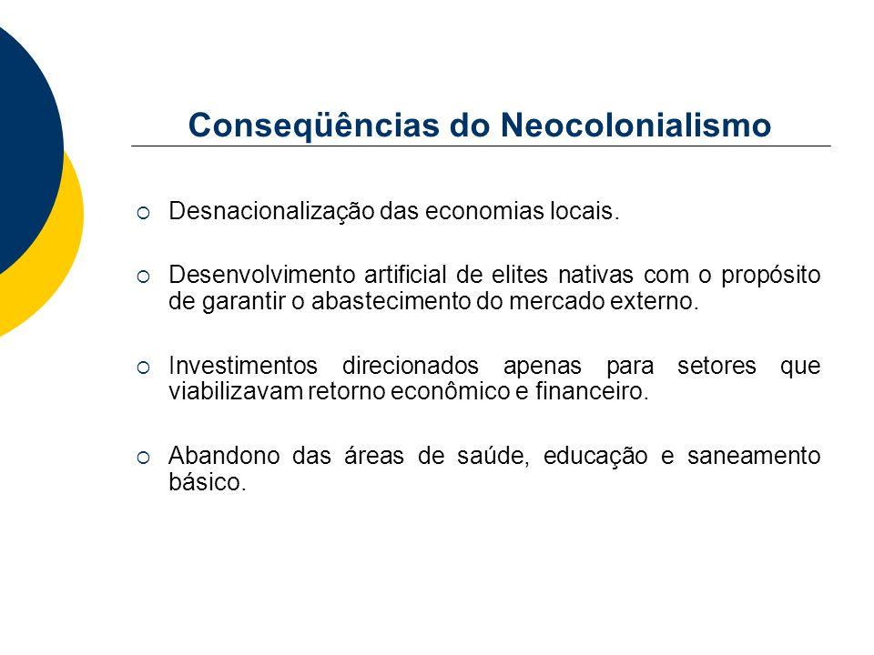 Conseqüências do Neocolonialismo Desnacionalização das economias locais. Desenvolvimento artificial de elites nativas com o propósito de garantir o ab