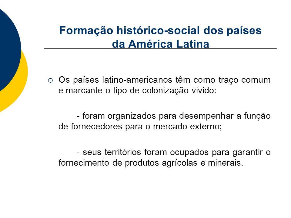 Formação histórico-social dos países da América Latina Os países latino-americanos têm como traço comum e marcante o tipo de colonização vivido: - for