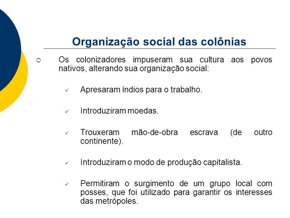 Organização social das colônias Os colonizadores impuseram sua cultura aos povos nativos, alterando sua organização social: Apresaram índios para o tr