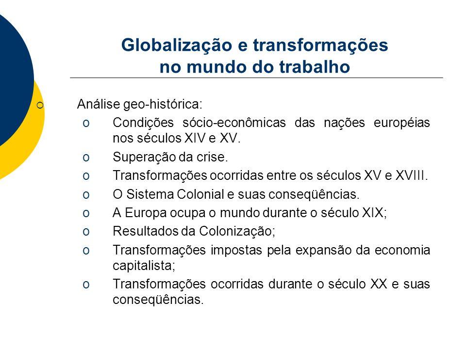 Globalização e transformações no mundo do trabalho Análise geo-histórica: oCondições sócio-econômicas das nações européias nos séculos XIV e XV. oSupe