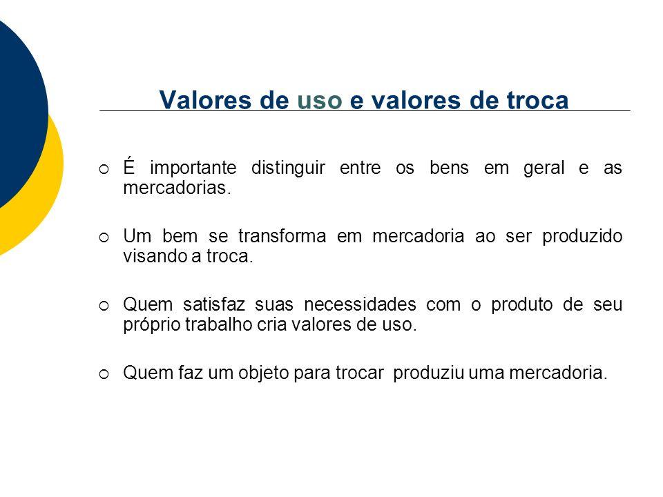 Valores de uso e valores de troca É importante distinguir entre os bens em geral e as mercadorias. Um bem se transforma em mercadoria ao ser produzido