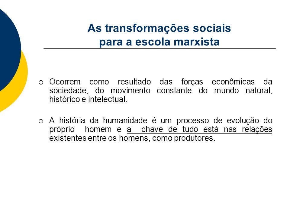 As transformações sociais para a escola marxista Ocorrem como resultado das forças econômicas da sociedade, do movimento constante do mundo natural, h