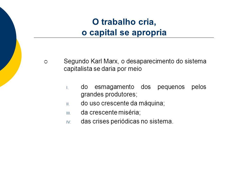 O trabalho cria, o capital se apropria Segundo Karl Marx, o desaparecimento do sistema capitalista se daria por meio I. do esmagamento dos pequenos pe