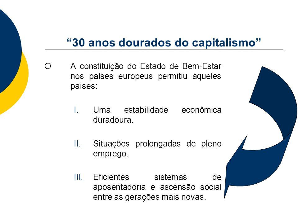 30 anos dourados do capitalismo A constituição do Estado de Bem-Estar nos países europeus permitiu àqueles países: I.Uma estabilidade econômica durado