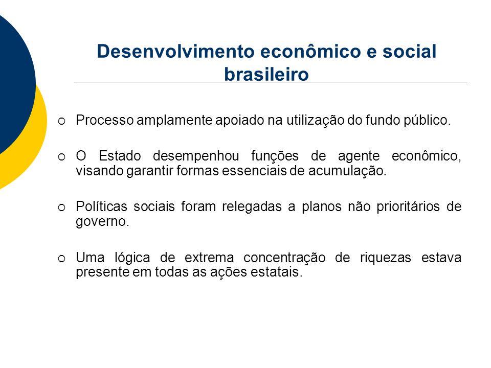 Desenvolvimento econômico e social brasileiro Processo amplamente apoiado na utilização do fundo público. O Estado desempenhou funções de agente econô