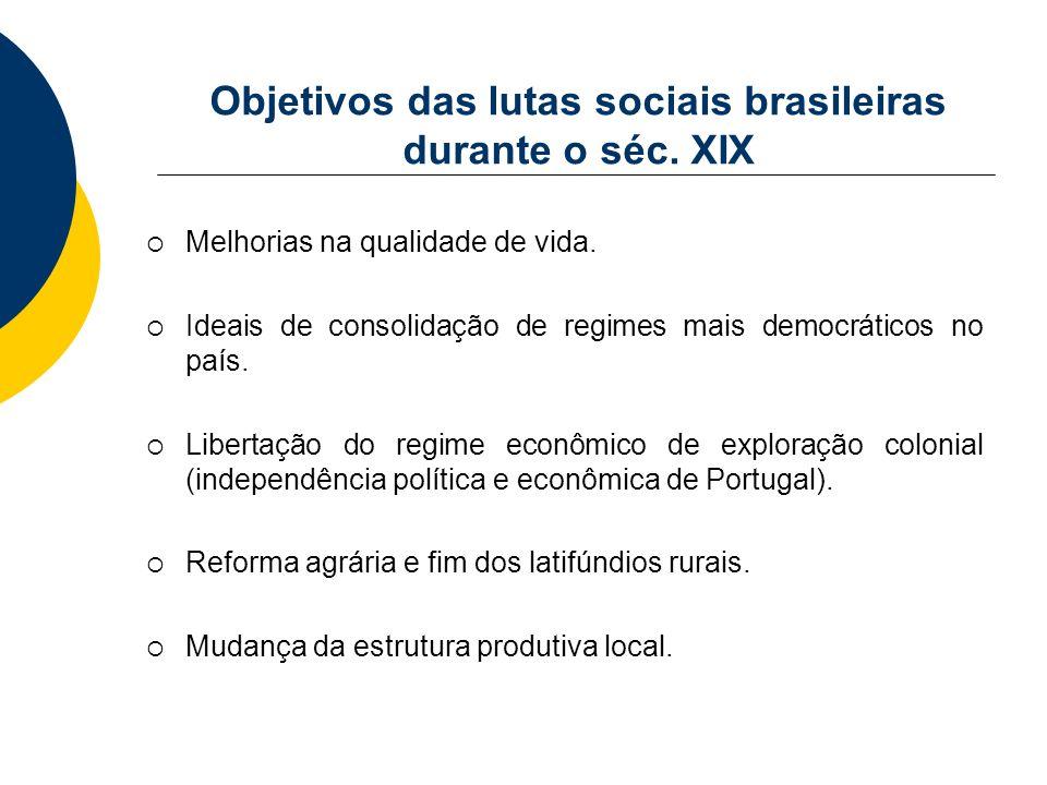 Objetivos das lutas sociais brasileiras durante o séc. XIX Melhorias na qualidade de vida. Ideais de consolidação de regimes mais democráticos no país