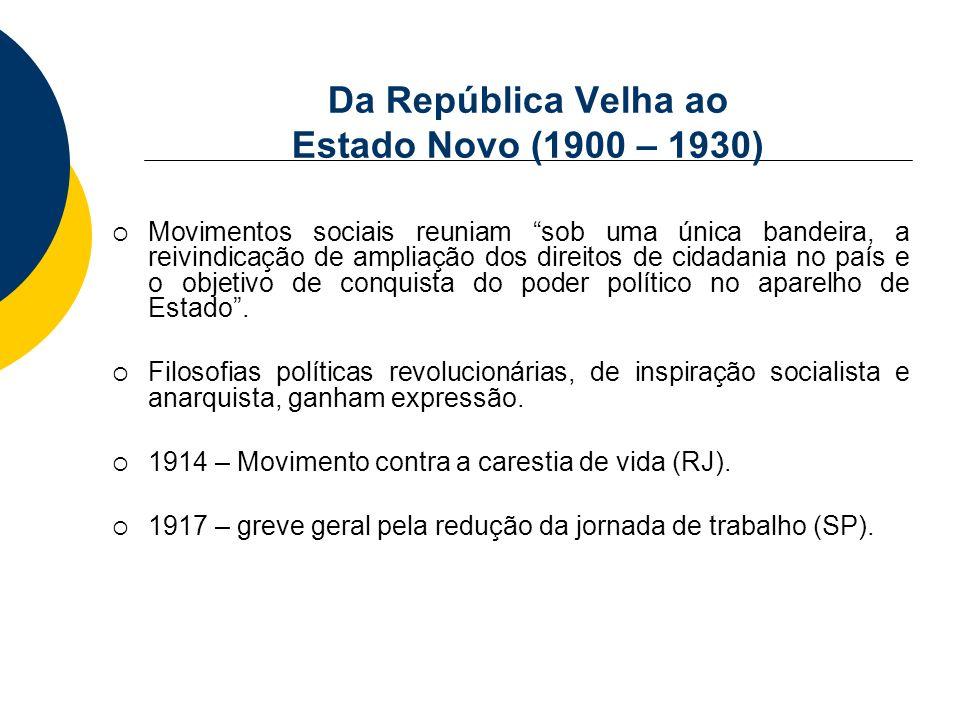 Da República Velha ao Estado Novo (1900 – 1930) Movimentos sociais reuniam sob uma única bandeira, a reivindicação de ampliação dos direitos de cidada