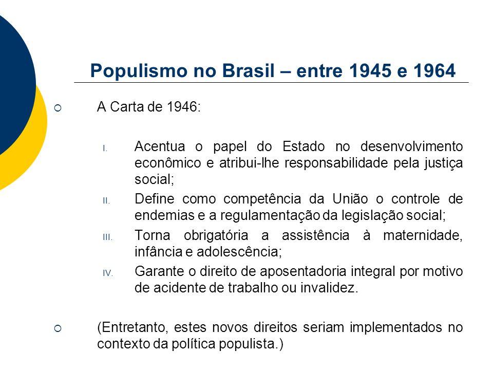 Populismo no Brasil – entre 1945 e 1964 A Carta de 1946: I. Acentua o papel do Estado no desenvolvimento econômico e atribui-lhe responsabilidade pela