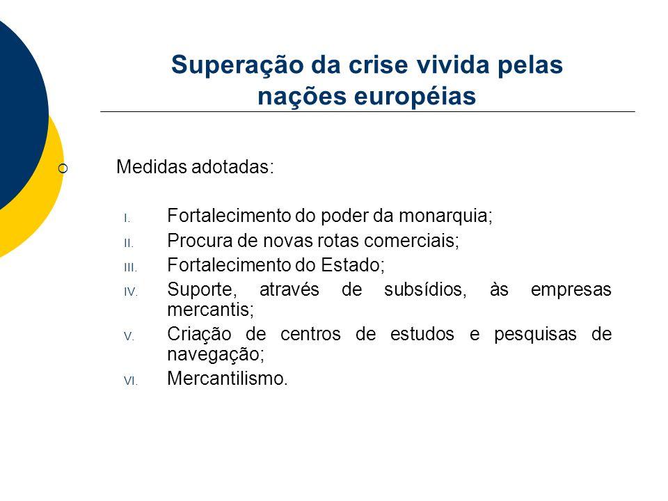 Superação da crise vivida pelas nações européias Medidas adotadas: I. Fortalecimento do poder da monarquia; II. Procura de novas rotas comerciais; III