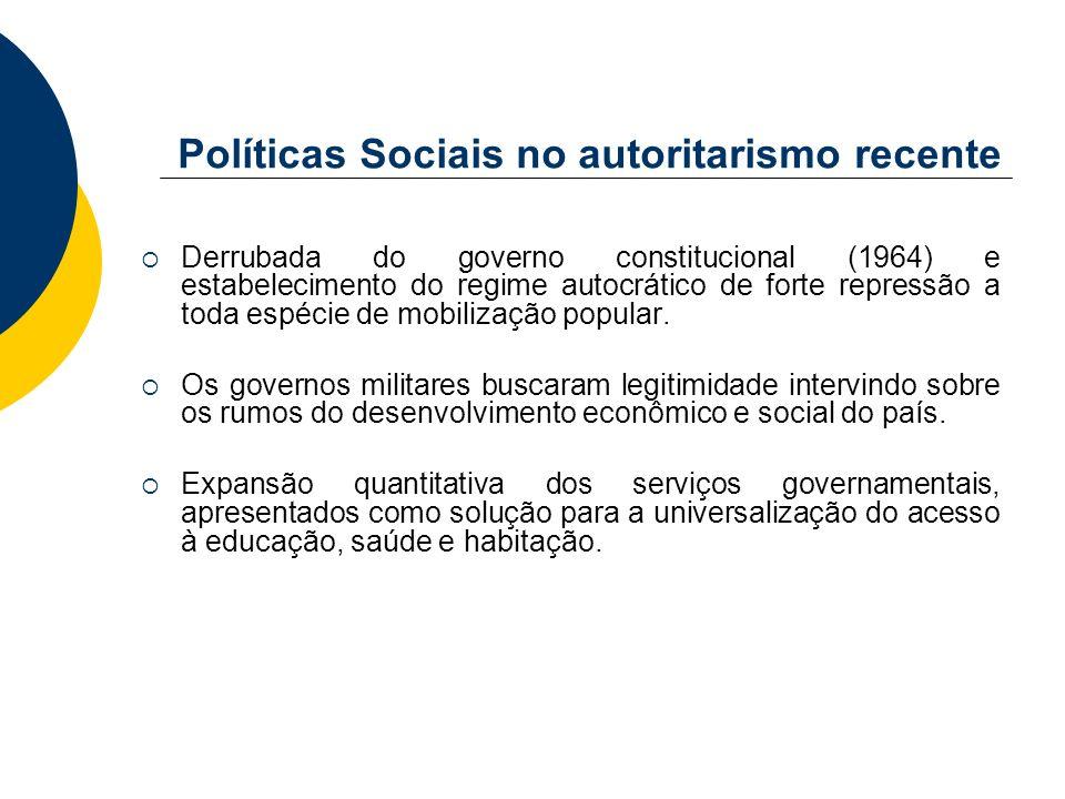 Políticas Sociais no autoritarismo recente Derrubada do governo constitucional (1964) e estabelecimento do regime autocrático de forte repressão a tod