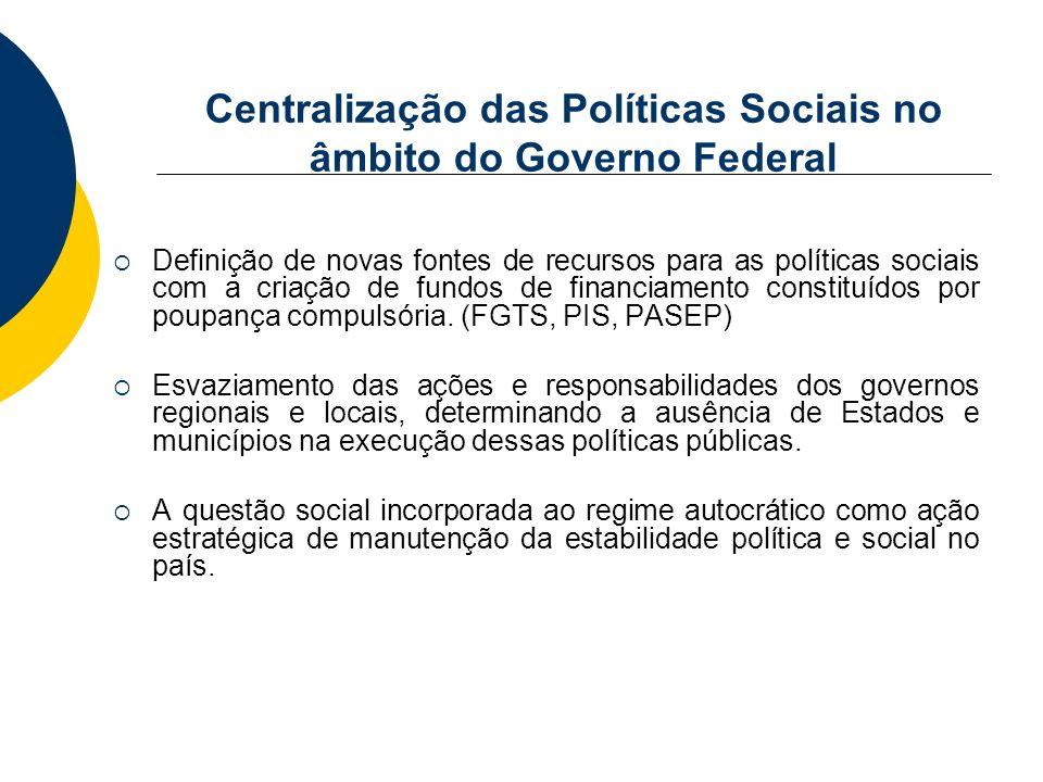 Centralização das Políticas Sociais no âmbito do Governo Federal Definição de novas fontes de recursos para as políticas sociais com a criação de fund
