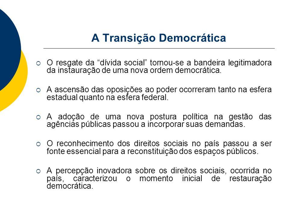 A Transição Democrática O resgate da dívida social tornou-se a bandeira legitimadora da instauração de uma nova ordem democrática. A ascensão das opos