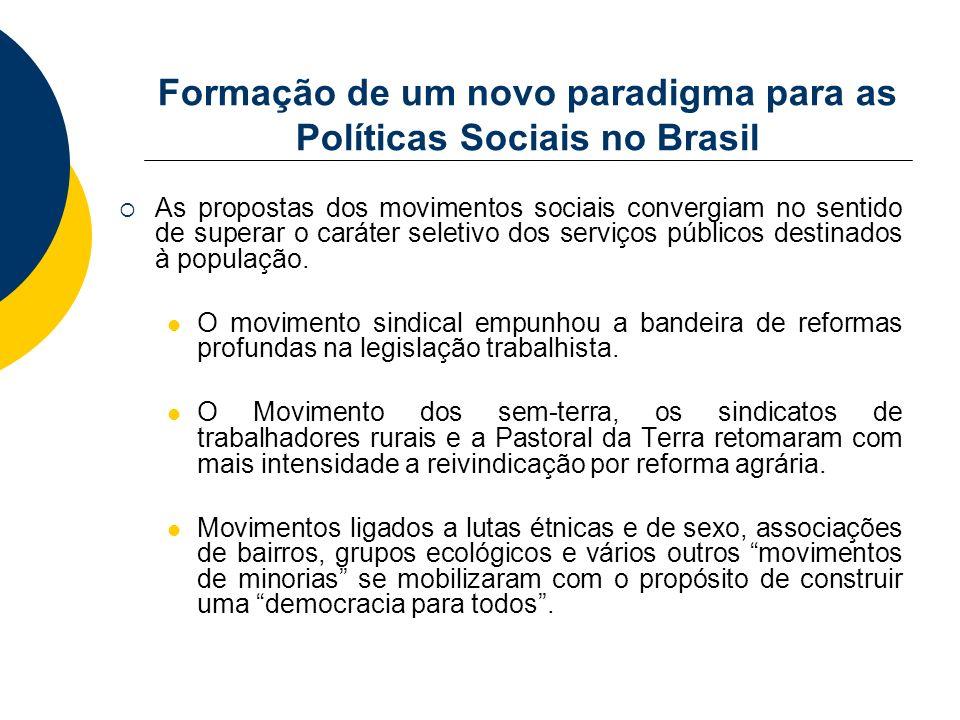 Formação de um novo paradigma para as Políticas Sociais no Brasil As propostas dos movimentos sociais convergiam no sentido de superar o caráter selet