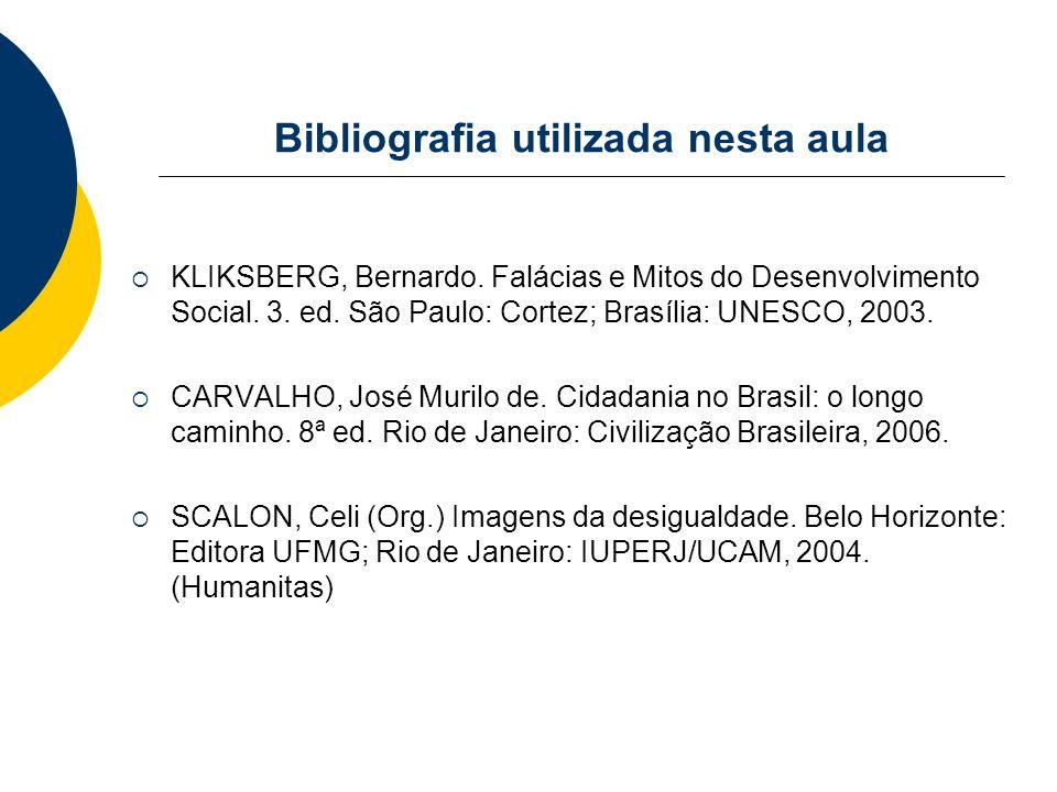 Bibliografia utilizada nesta aula KLIKSBERG, Bernardo. Falácias e Mitos do Desenvolvimento Social. 3. ed. São Paulo: Cortez; Brasília: UNESCO, 2003. C